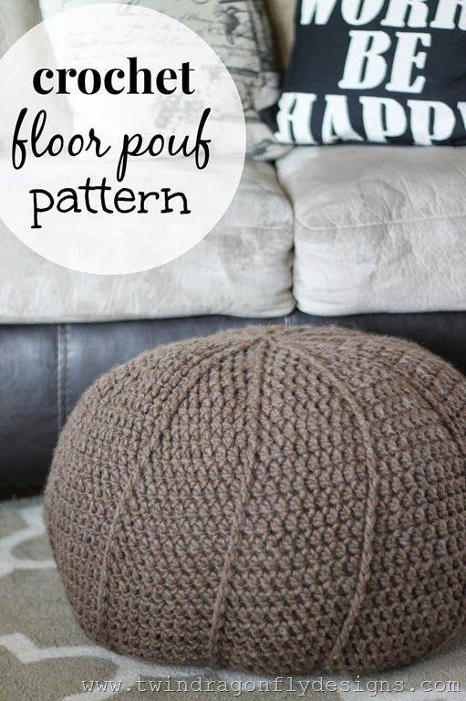 http://www.twindragonflydesigns.com/free-crochet-floor-pouf-pattern/