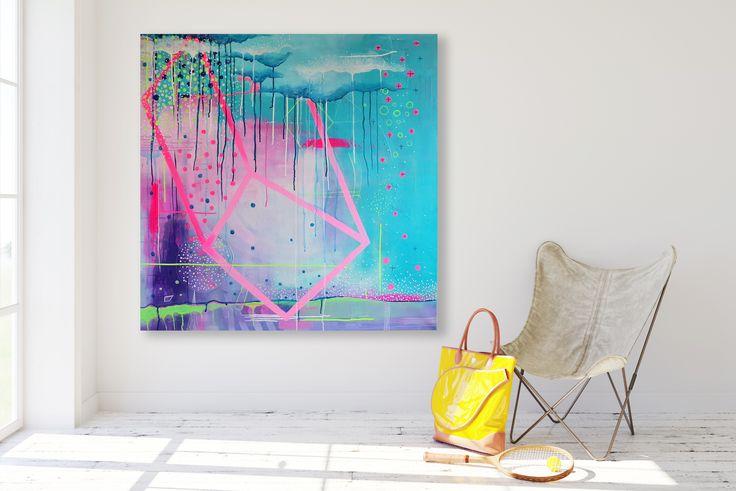 Intuitive painting, art, kunst, dots, energy, universum, spiritual, color, geometric, pink, neon