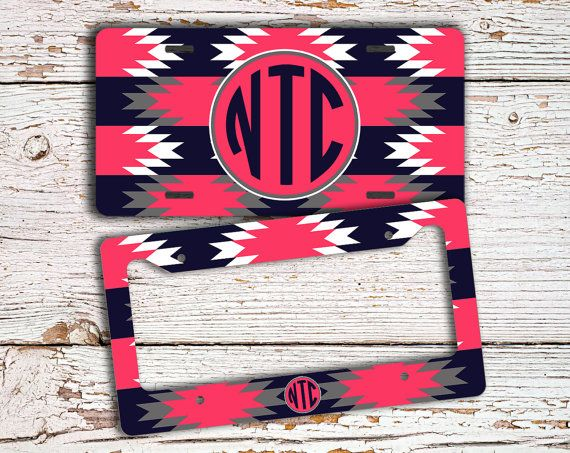 Monogrammed license plate or frame - Tribal by ToGildTheLily, $16.99 - Deep navy blue and hot pink aztec design.  Available as a license plate, license plate cover or bike license plate