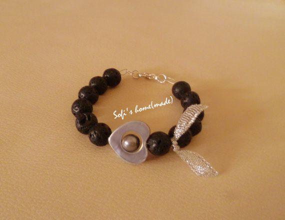 Handmade bracelet with lava stones / beads and a lovely pearl into a shell heart plus free gift.