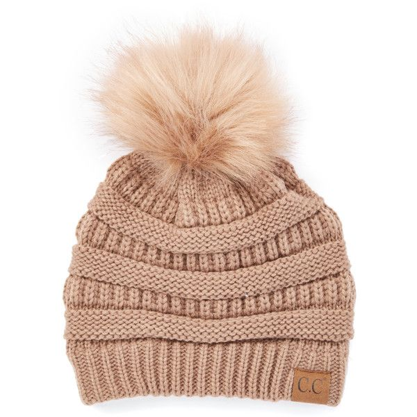 C.C® Taupe Faux Fur Pom-Pom Beanie ($12) ❤ liked on Polyvore featuring accessories, hats, fake fur hats, pom pom hat, beanie cap hat, pom pom beanie hat and faux fur beanie hat
