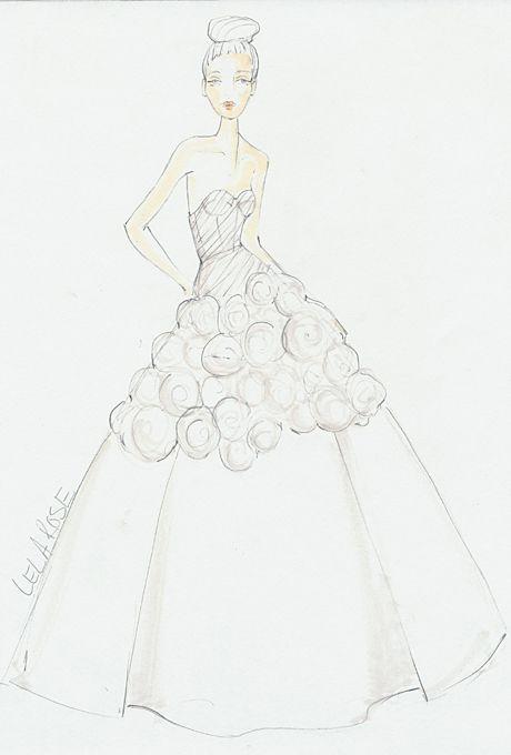 Wedding dress sketch for Savannah Guthrie | Lela Rose | brides.com