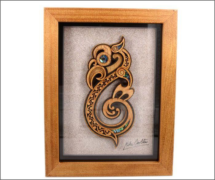 Framed Maori art, Maori manaia.