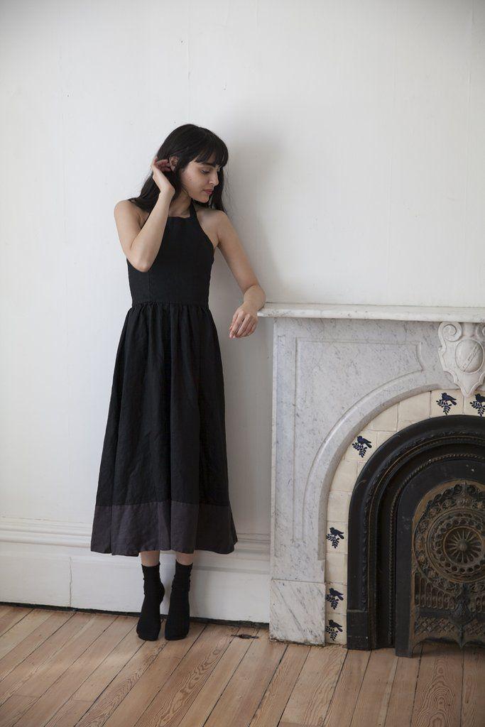 ebe0347365b Marion Linen Dress - Black   Charcoal