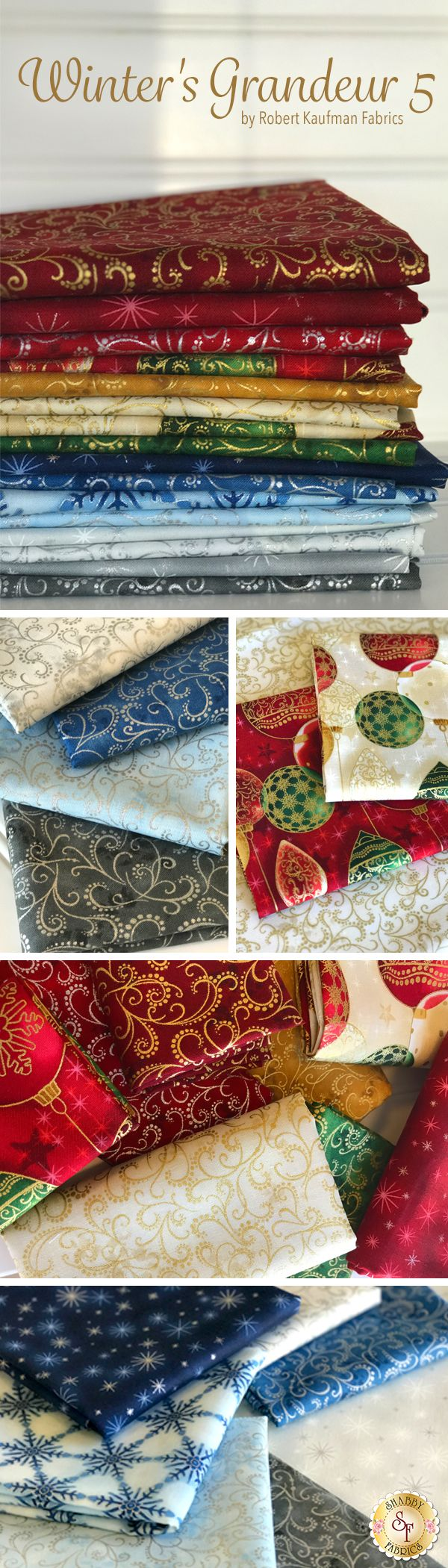 Winter's Grandeur 5 from Robert Kaufman Fabrics is a holiday fabric collection featuring metallic accents available at Shabby Fabrics