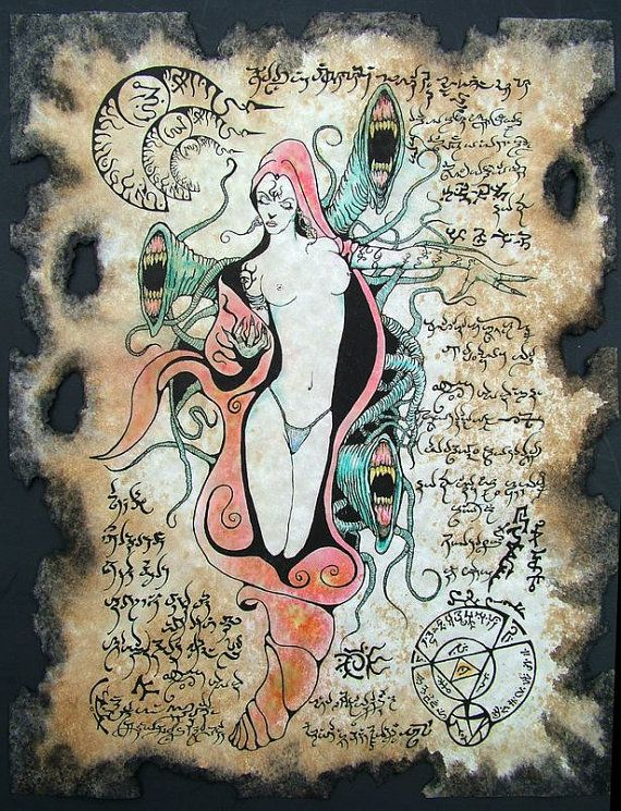 Demon Goddess Shub Niggurath Necronomicon Scrolls magick by zarono