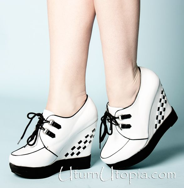 White & Black Oxford Wedge Shoes /Creeper / Rockabilly / Grunge [BP445-LUX-WHT] - $69.99 : Uturn Utopia, Retro footwear, Rockabilly Shoes, Vintage Inspired Clothing, jewelry, Steampunk