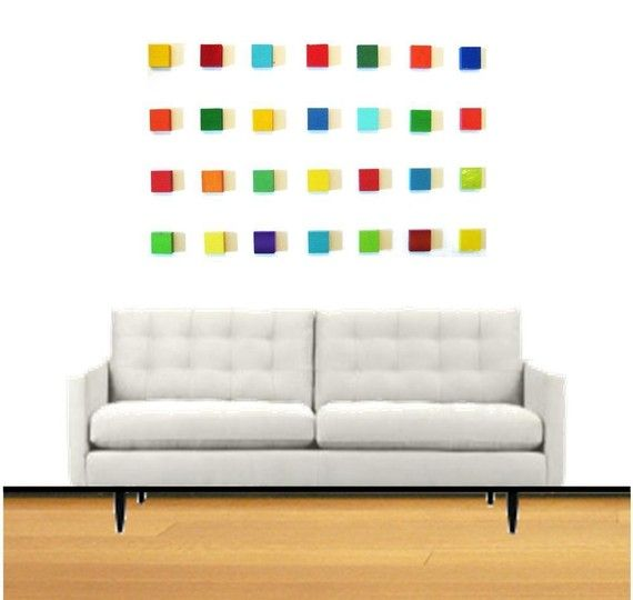 LOVE this idea for wall art. bright colors, wood blocks, and magnets