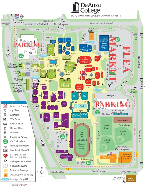 Pin by tashia potter on home   Campus map, Map, Fleas De Anza Campus Map on