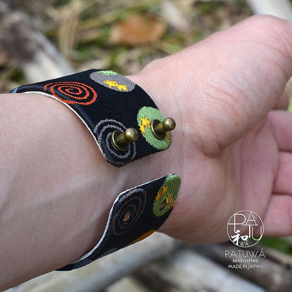 Japanese kimono bracelet. Genuine leather covered with by PATUWA