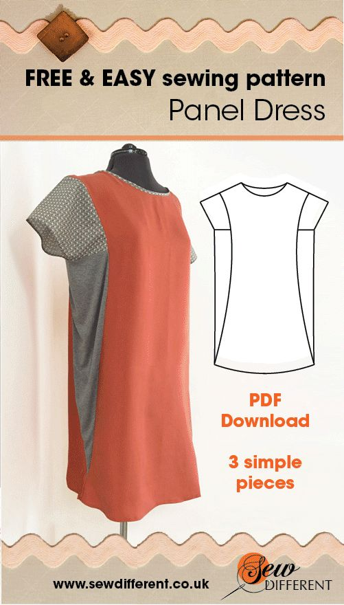 LOVE this dress! The Panel Dress is a FREE sewing pattern for women, downloadable from Sew Different. Super easy to make and has step-by-step instructions with it! I'm going to make in hundreds of fabrics and wear it ALL summer!