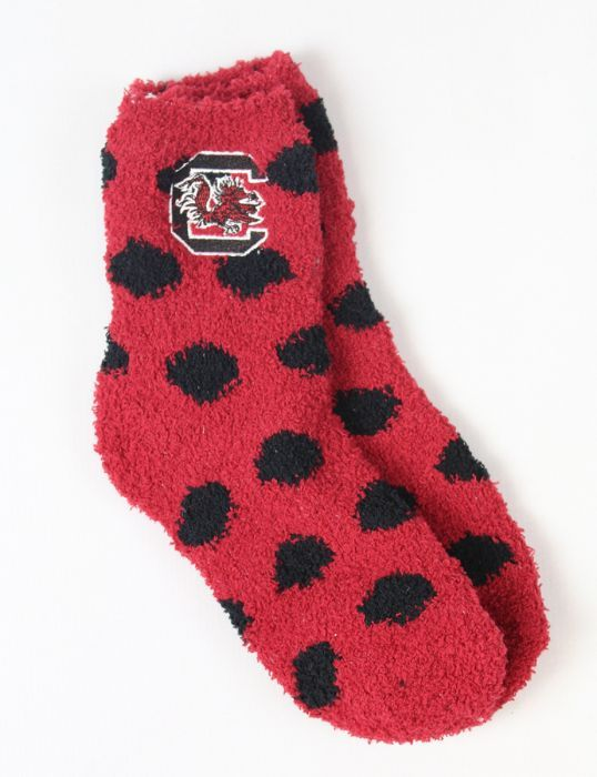 Every University of South Carolina Gamecock fan needs a pair of polka dot fuzzy socks! Grab some for you and your friends!!