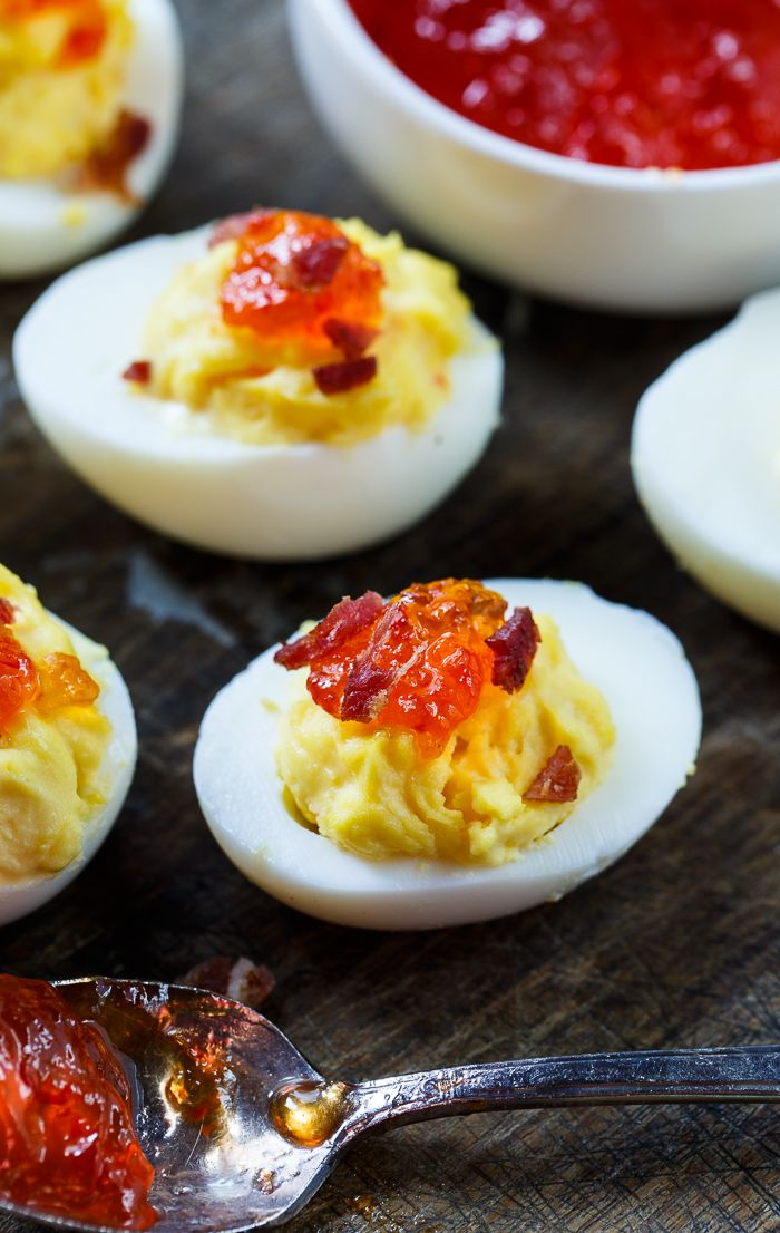 Red Pepper Jelly Deviled Eggs with Bacon