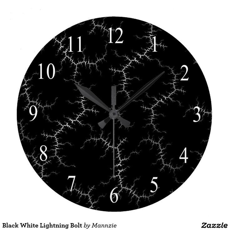 Black White Lightning Bolt Large Clock