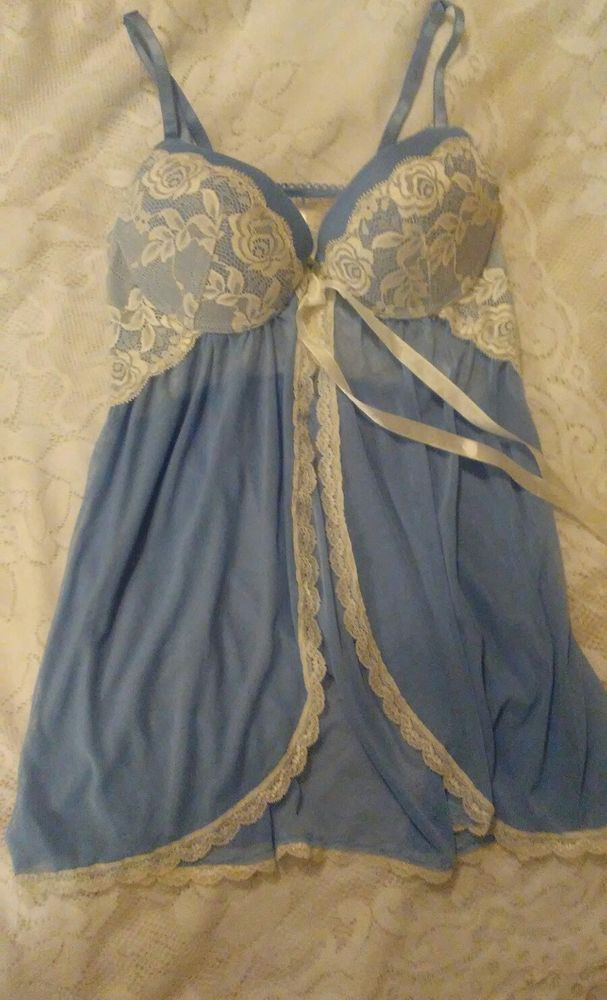 jessica simpson babydoll teddy small push up lined blue white lace #jessicasimpson