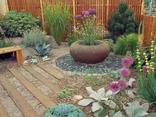 Large garden pots can be used to create visually interesting focal points in your garden.