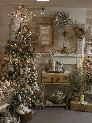 shabby chic christmas tree ~ love this vignette ... all of it!