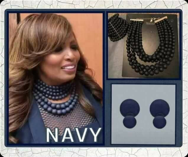 Traci Lynn Fashion Jewelry   Model:  Dr. Traci Lynn rocking our Navy Collection  #fashion #navybluenecklace  #blingbling #BOGO #Free #navybluebracelet #navyblueearrings