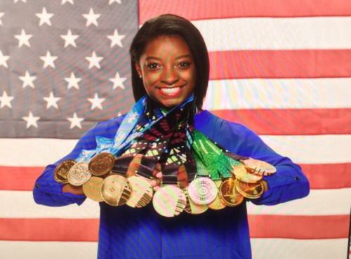 Simone Biles...She combines a God given ability, discipline, dedication and courage, with a beautiful, sweet spirit. One heck of a gymnast. One heck of a young lady. You! Go! Girl!