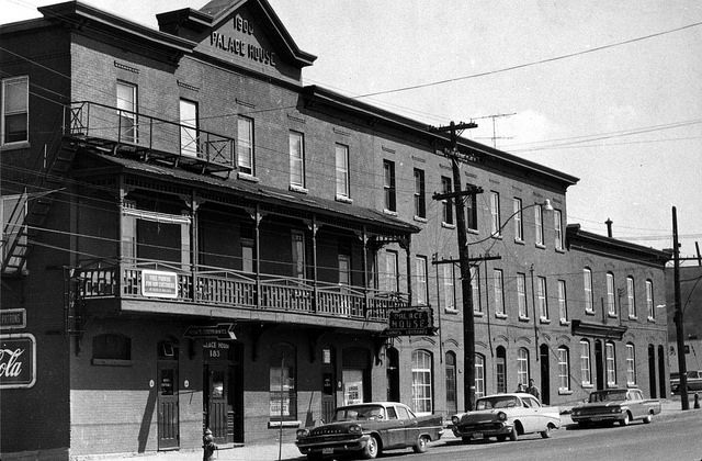Palace House Hotel early 1960's at 185 Broad St. Ottawa  Photo taken on Lebreton Flats a few years before the area was cleared.
