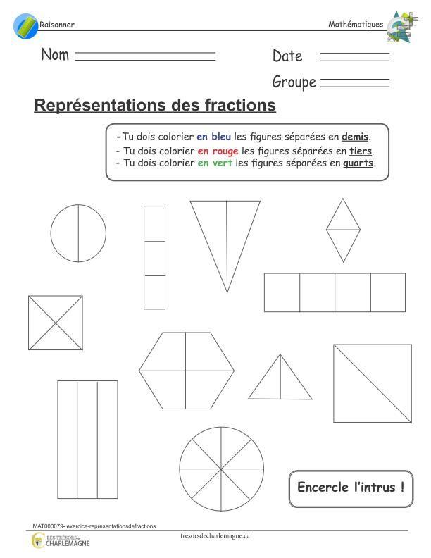 Exercice travaillant les notions de représentations de fractions. L'élève doit colorier les figures représentées de la bonne couleur selon la fraction qu'elles représentent. Ce document comprend une page.  1er cycle,2e année,2e cycle,3e année,4e année,Caroline B.,évaluation,exercice,fractions,Lettre,Mathématiques,mathématiques,Nouveautés,Raisonner,Raisonner,représentation de la fraction,simple