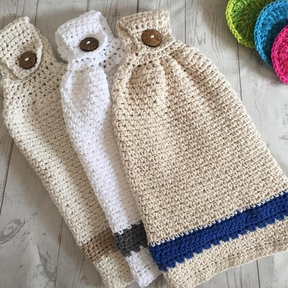 Crochet Kitchen Hanging Hand Towel With Wood Button Cotton Etsy