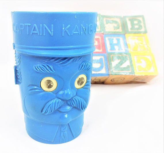 Captain Kangaroo Drinking Cup Blue Plastic Googly Eyes
