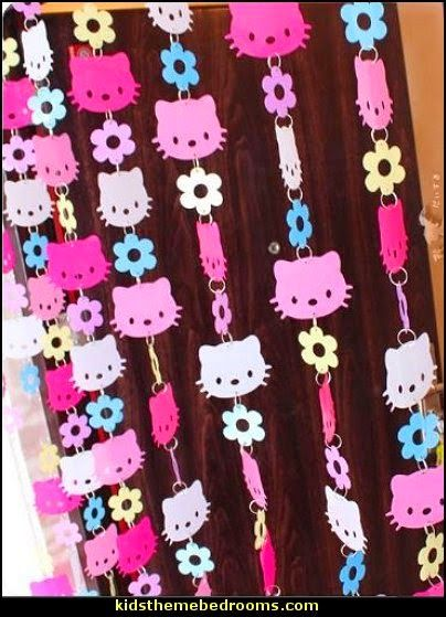 Hello Kitty Curtain, Pink Colorful Hello Kitty Head Door Curtain