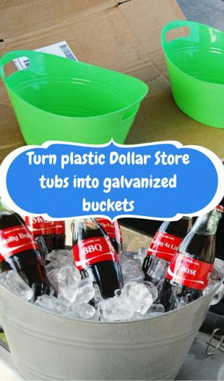 Turn plastic Dollar Store tubs into galvanized buckets