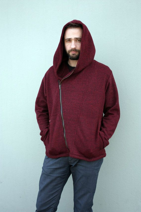 Burgundy sweater  Fastened diagonally Cotton by clothesNavaho