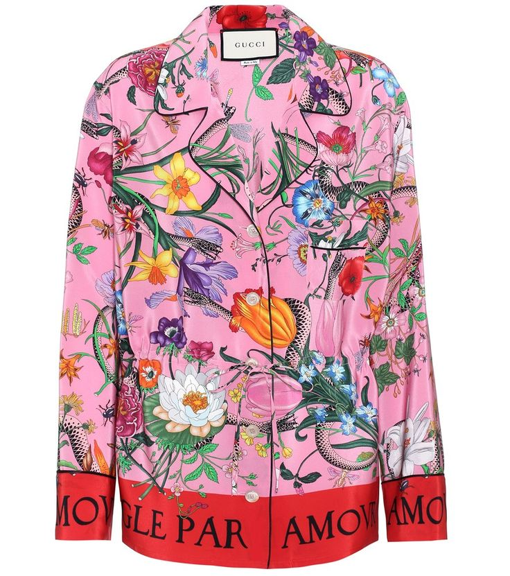 Gucci - Printed silk shirt - Remix your shirt edit with statement-making power courtesy of Gucci and this vibrantly printed style. Crafted in Italy from pure silk, this piece comes in a pyjama-inspired cut and has a defining drawstring waist. Layer yours over a simple camisole. seen @ www.mytheresa.com