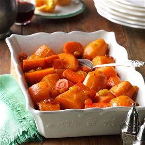 Sweet Potato & Carrot Casserole Recipe- Recipes  This tangy and sweet casserole is full of flavor. We've served it at many celebrations over the years and it's always been a bit hit!  —Gloria Mezikofsky, Wakefield, Massachusetts