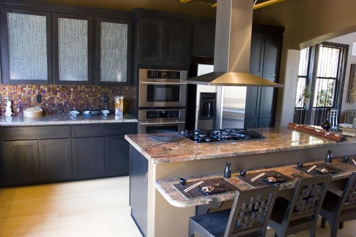 Splendid Kitchen Center Island with Cooktop and Stainless Steel Island Vent Hood also Iridescent Glass Tile for Kitchen…