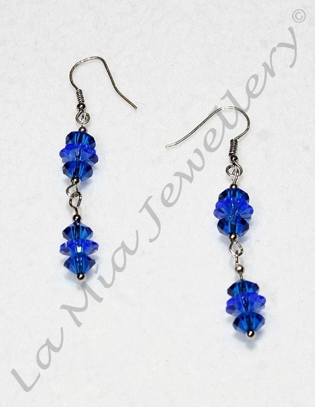 Swarovski Crystal Blue Tree Earrings - Bali Silver Hooks