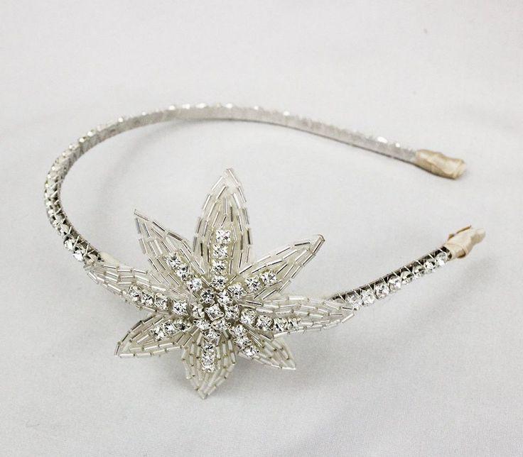 Silver Headband - Wedding Hair Accessory - Bridal Fascinator - 1920's Flapper Head Piece - Great Gatsby - Crystal Headband - Star Head Dress