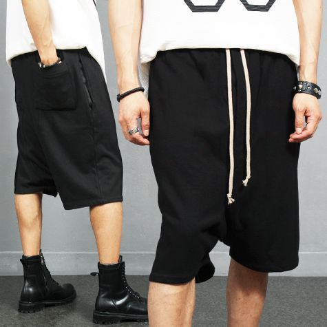 Avant garde Long Strap Drop Crotch Half Short Sweatpants