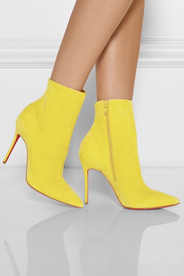 Christian Louboutin | So Kate 100 yellow suede ankle boots | Shoes - NET-A-PORTER
