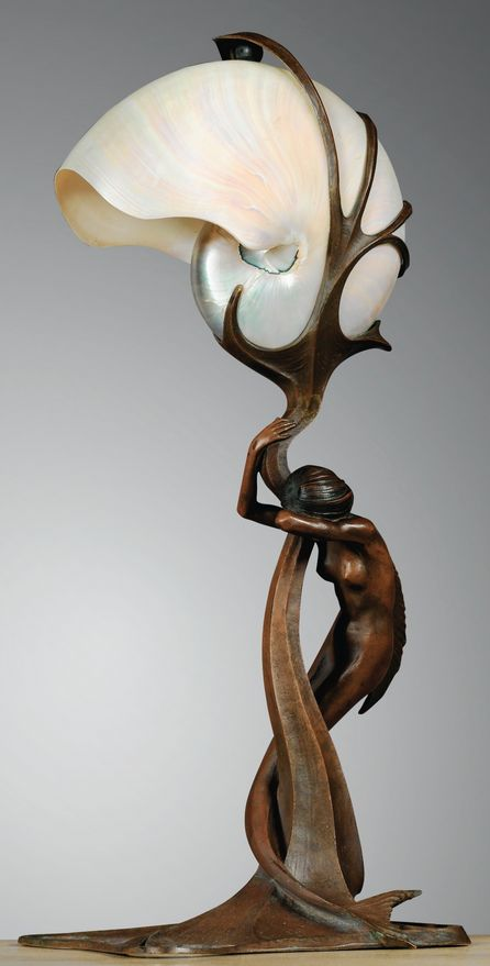 Gustav Gurschner, Art Nouveau bronze mermaid lamp with nautilus shell shade, c. 1899, signed and numbered, 47 cm H.