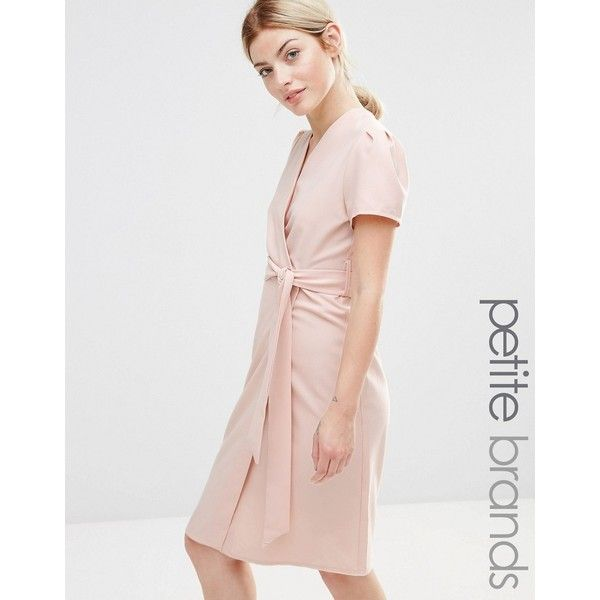 Alter Petite Wrap Tea Midi Dress ($31) ❤ liked on Polyvore featuring dresses, petite, pink, mid calf dresses, tea party dresses, petite dresses, petite wrap dress and cap sleeve midi dress