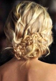 a little twist here, a little braid thereBraided Updo, Hairstyles, Wedding Hair, Braids Updo, Messy Updo, Messy Buns, Messy Braids, Hair Style, Braids Buns
