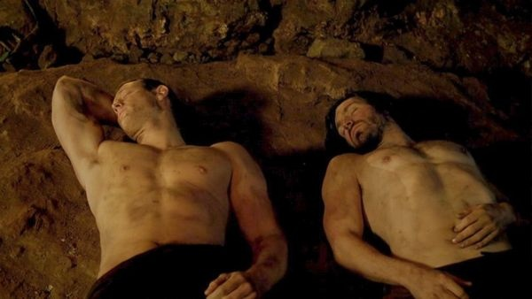 Sir Perceval (Tom Hopper, left) and Sir Gwaine (Eoin Macken) take a break. #Merlin