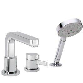 Metris S Single Handle Deck Mounted Roman Tub Faucet Trim with Hand Shower