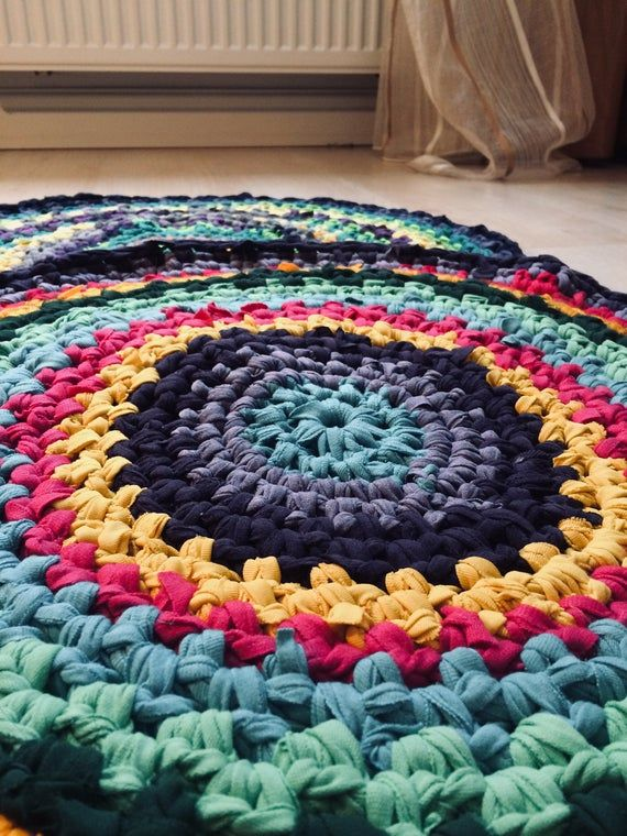 Crochet Round Rag Rug Floor Rug Colorful Round Rug Boho Etsy Rag Rug Crochet Rag Rug Colorful Rugs