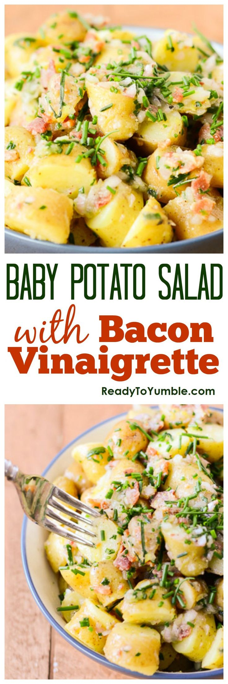 Baby Potato Salad with Bacon Vinaigrette. Sweet baby potatoes, savory bacon, and a hit of fresh lemon make a perfect side dish for almost any occasion.