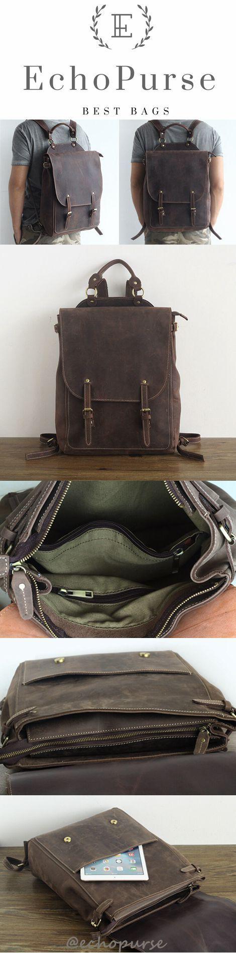 Vintage Style Leather Backpack, Men's Travel Backpack, packsack, knapsack, Laptop Bag PPM1736
