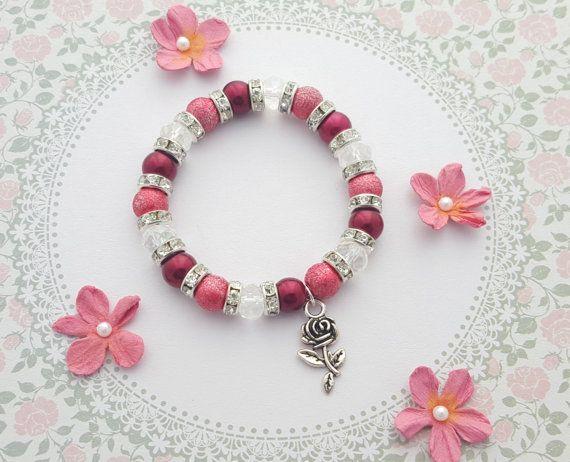 Rose Charm Bracelet, Kids Bracelet, Crystal Jewellery, Rose Jewelry, Children's Fashion, Red Beaded Bracelet, Flower Charm, Girls Gift Idea
