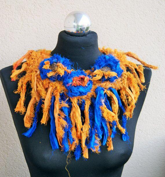 Sari silk ribbon statement necklace-Orange by handmadestreet101