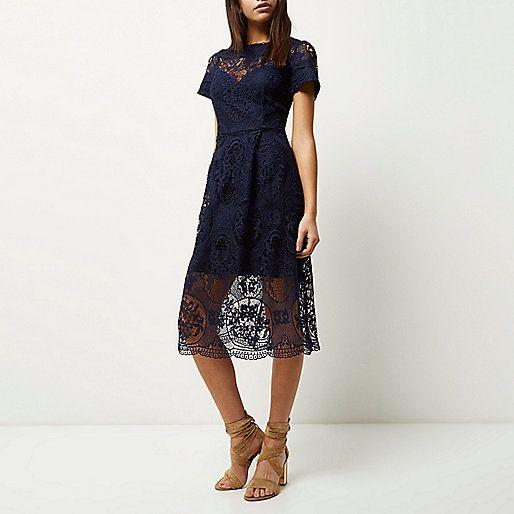Marineblauwe kanten midi-jurk - midi-jurken - jurken - dames