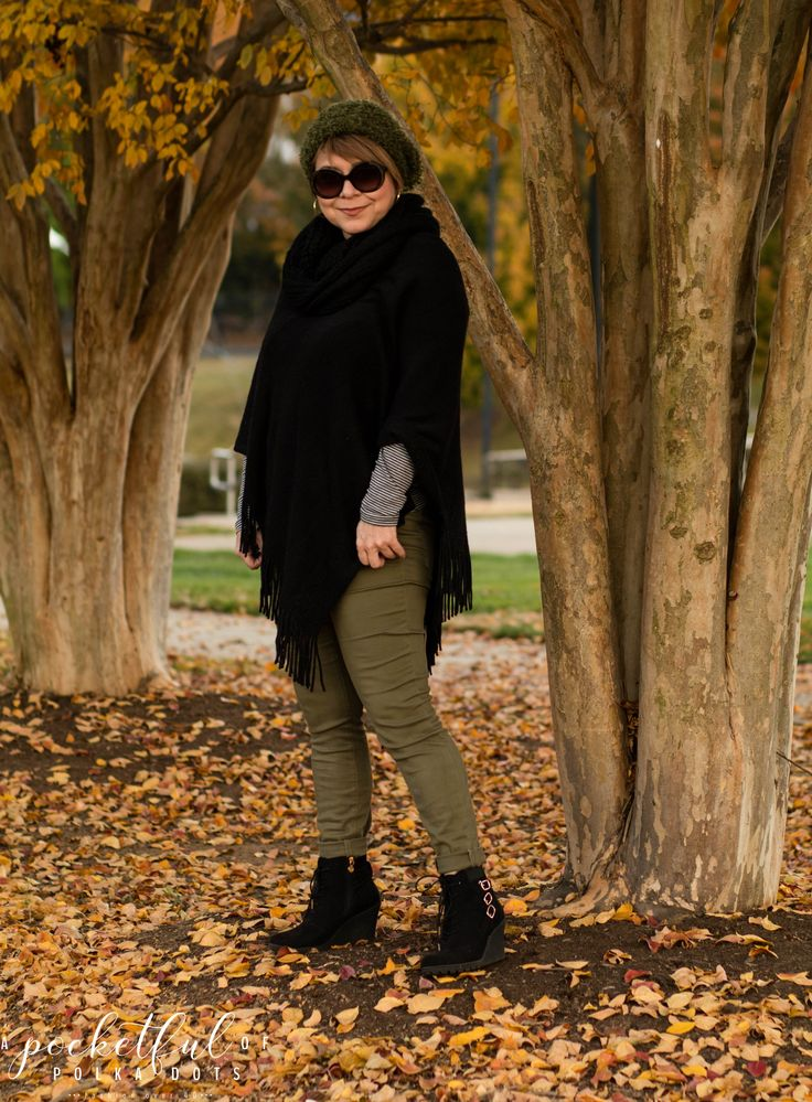 wedge booties, Secret Celebrity Allura, Poncho, Fall Style for women, Olive jeans, Fashion over 40, casual style, budget fashion blog