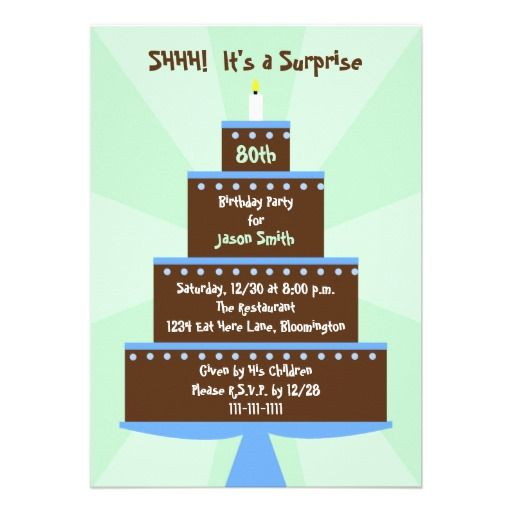 16 best surprise 80th birthday party invitations images on pinterest surprise 80th birthday party invitation cake filmwisefo